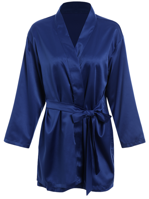 affordable Lace Panel Satin Babydoll with Kimono - BLUE M Mobile