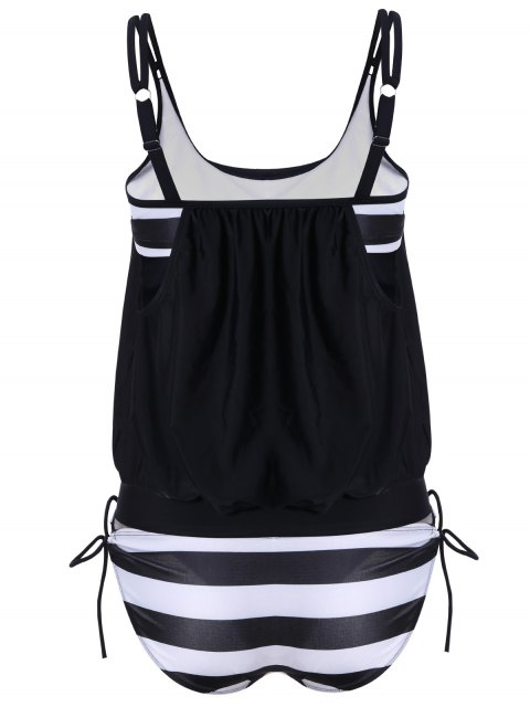 women's Striped Blouson Tankini Swimsuit - BLACK 2XL Mobile