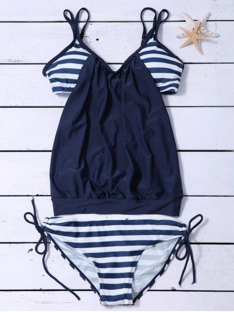 shop Striped Blouson Tankini Swimsuit - NAVY BLUE XL Mobile