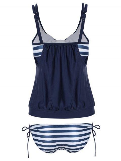 shops Striped Blouson Tankini Swimsuit - NAVY BLUE 2XL Mobile