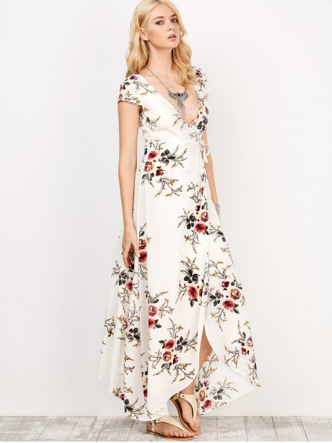 unique Floral Print Short Sleeve Maxi Wrap Dress - WHITE S Mobile