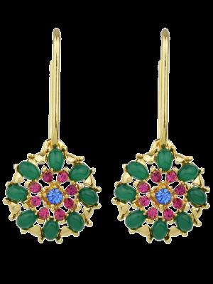 Rhinestone Flower Shape Drop Earrings - Green
