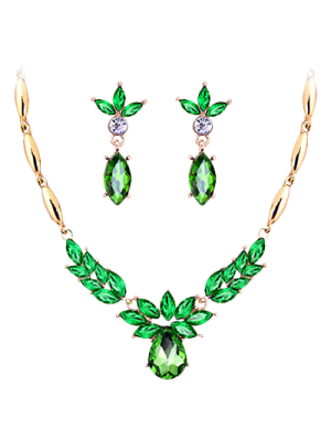 A Suit Of Vintage Rhinestone Water Drop Necklace And Earrings - Green