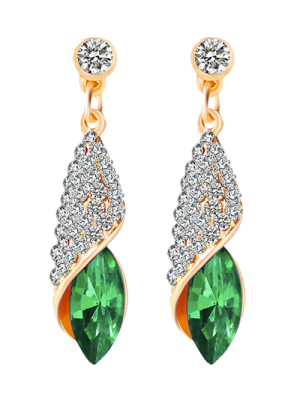 Rhinestoned Faux Crystal Oval Drop Earrings - Green