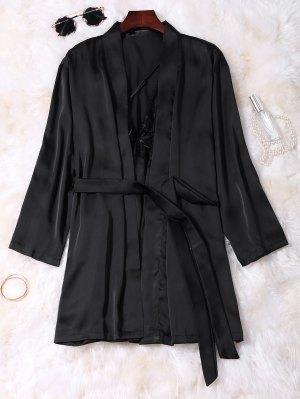 Lace Panel Satin Babydoll With Kimono - Black