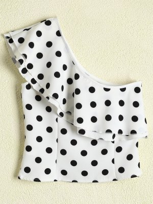Polka Dot One Shoulder Ruffle Top - White