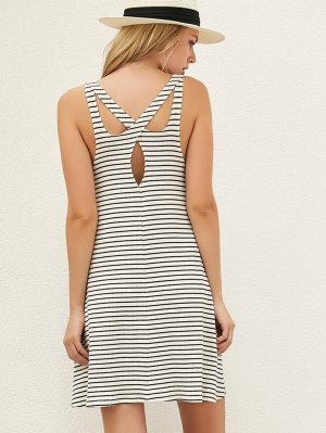 Striped Cut Out Casual T-Shirt Dress - White And Black