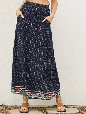 Drawstring Geometric A-Line Skirt - Purplish Blue