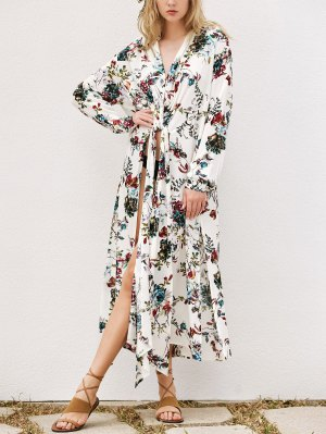 Floral Longline Cover Up - White