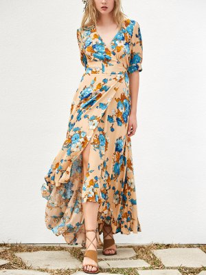 Floral Asymmetrical Maxi Dress - Khaki