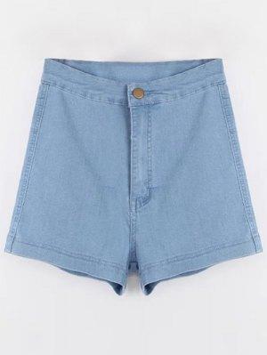 High Waisted Denim Shorts - Light Blue