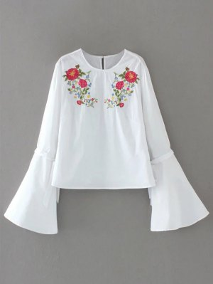 Floral Embroidered Flare Sleeve Blouse - White