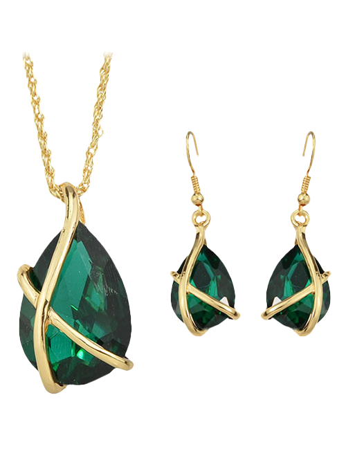 A Suit of Vintage Faux Crystal Water Drop Necklace and Earrings For Women