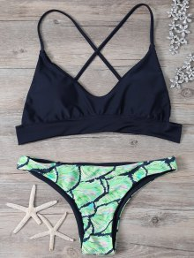 Cami Cross Back Printed Bikini Set