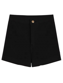 High Waisted Denim Shorts - Black M