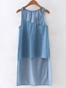 High Low Pocket Denim Vest - Light Blue L
