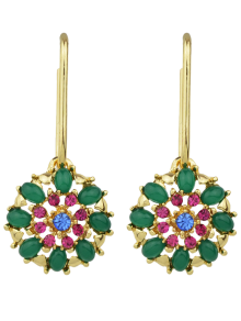 Rhinestone Flower Shape Drop Earrings