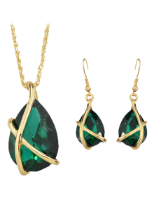 A Suit Of Vintage Faux Crystal Water Drop Necklace And Earrings For Women - Green
