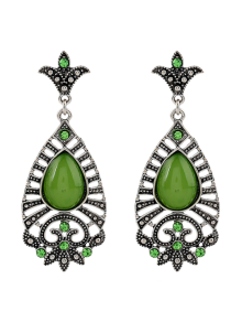Fake Gem Teardrop Filigree Earrings