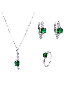 Artificial Emerald Necklace Earrings And Ring - Green
