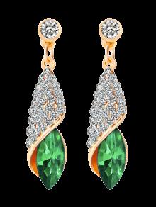 Boucles D'oreilles Ovale Strass Faux Cristal - Vert