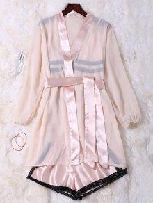 Satin Cami Babydoll With Kimono With Shorts - Shallow Pink