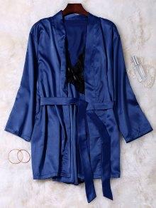 Lace Panel Satin Babydoll With Kimono - Blue