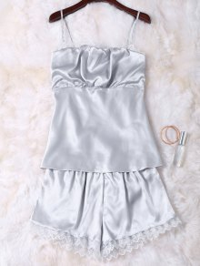Faux Silk Cami Top and Shorts Sleepwear