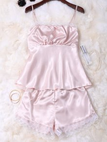 Faux Silk Cami Top And Shorts Sleepwear - Champagne
