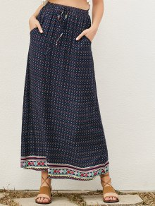 Drawstring Geometric A-Line Skirt - Purplish Blue