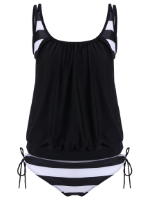Striped Blouson Tankini Swimsuit - Black