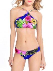 Cropped Floral Print Bikini Set