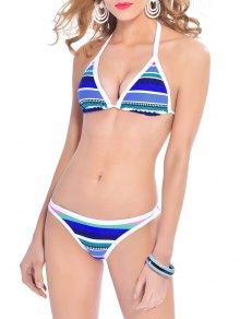 Striped Halterneck Bikini Set