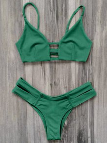 Caged Bandage Bikini Swimwear - Green