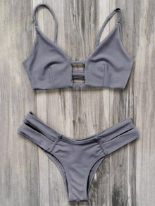 Caged Bandage Bikini Swimwear - Gray S