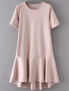 Ruffle Hem High Low Dress - Pale Pinkish Grey