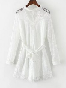 Choker Lace Sheer Romper With Tie Belt