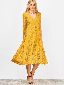 Lace Belted Maxi Surplice Dress - Yellow M