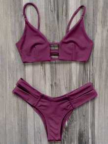 Caged Bandage Bikini Swimwear - Burgundy M