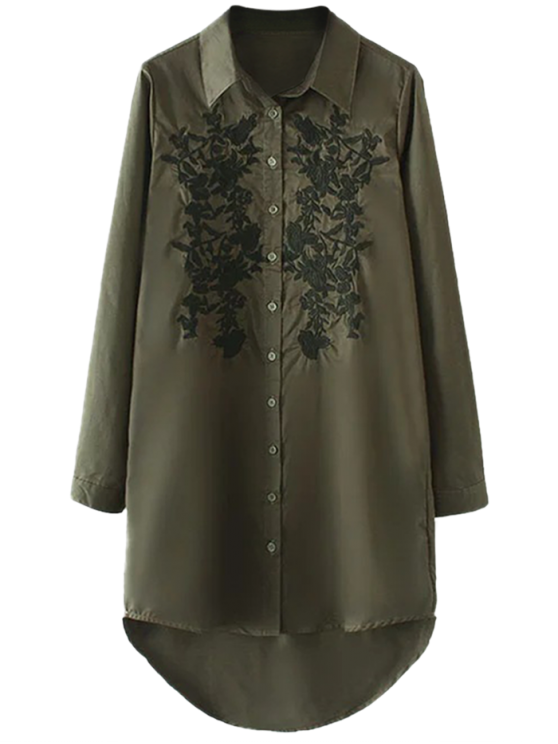 best Floral Embroidered High Low Shirt Dress - ARMY GREEN M