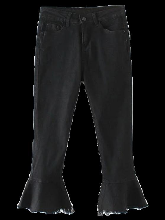 Deshilachado dobladillo de Bell Bottom Jeans - Negro M