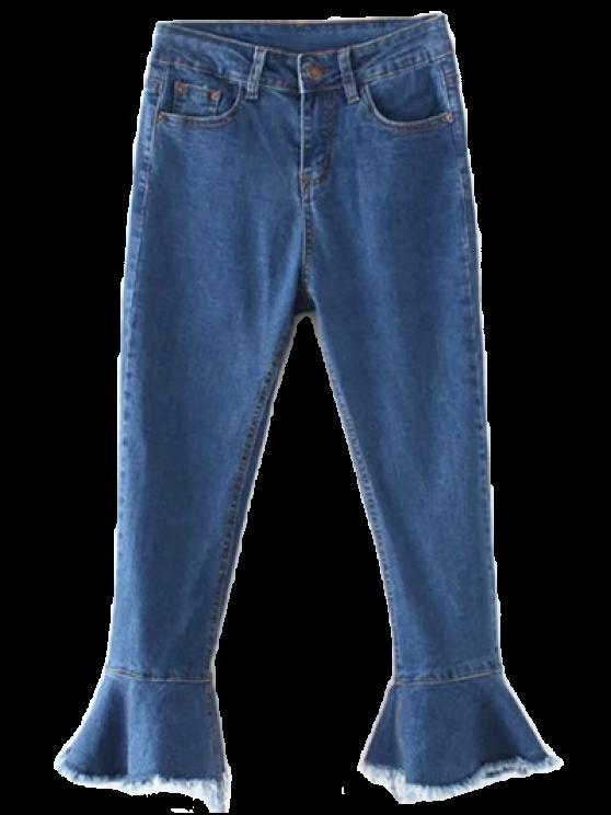 affordable Frayed Hem Bell Bottom Jeans - DENIM BLUE M