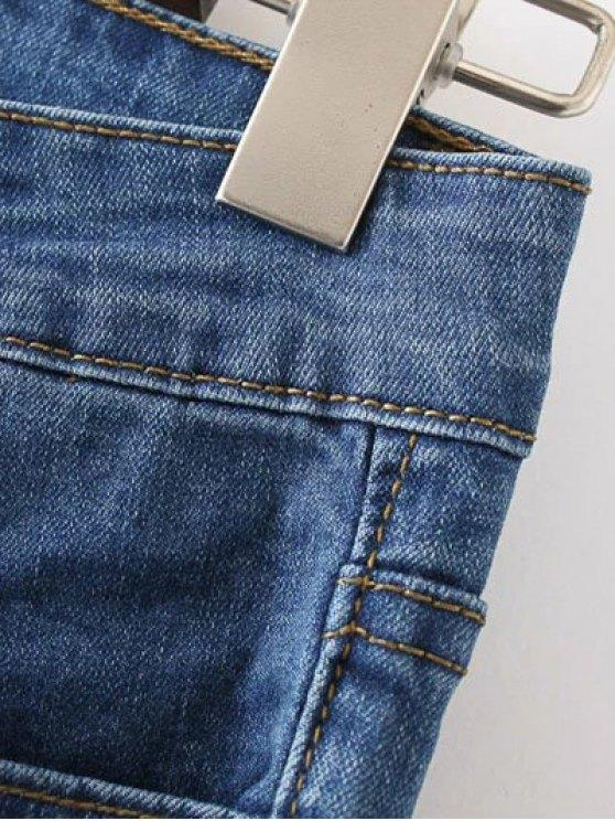 Frayed Hem Bell Bottom Jeans - DENIM BLUE L Mobile