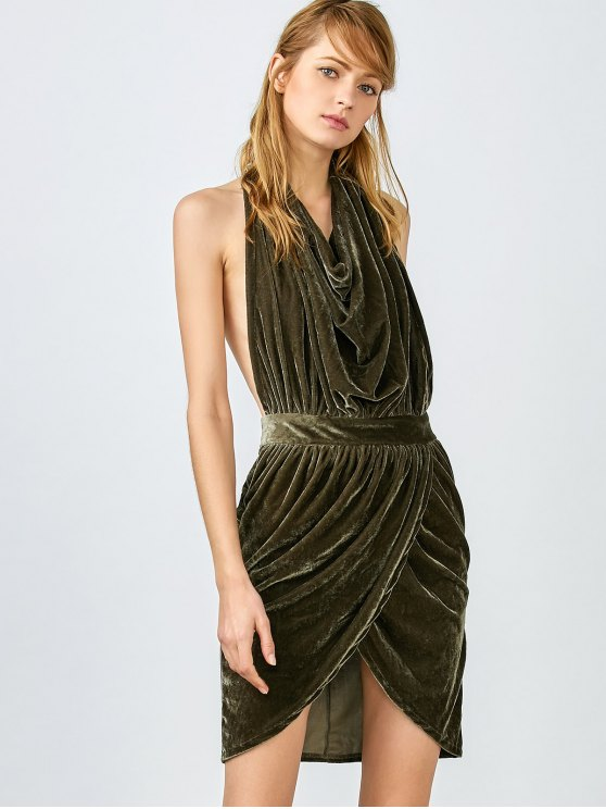 Sexy Backless Velvet Draped Tulip Dress - ARMY GREEN L Mobile