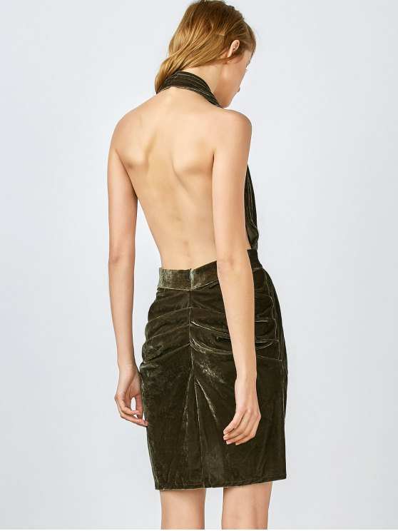 Sexy Backless Velvet Draped Tulip Dress - ARMY GREEN M Mobile