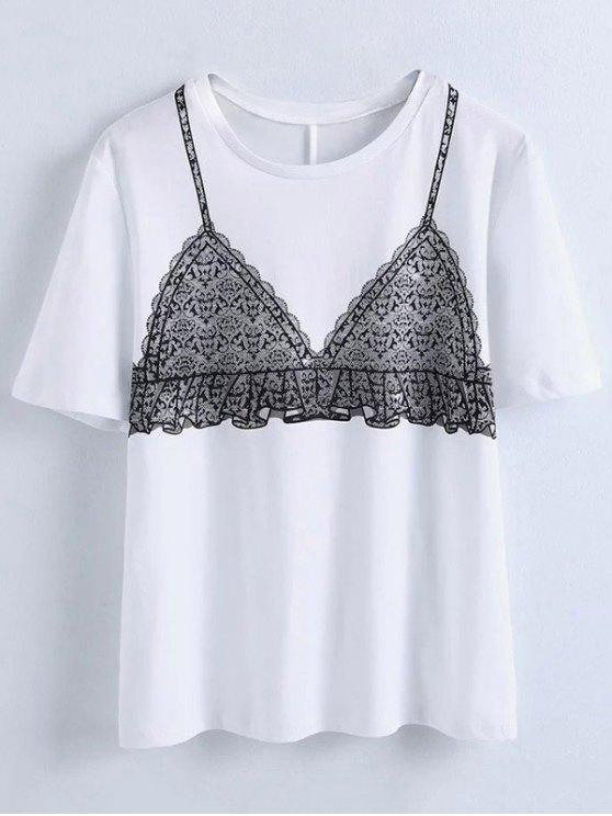 womens Bra Funny Print T-Shirt - WHITE S