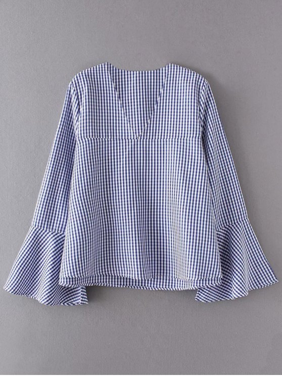 V Neck Plaid Flare Sleeve Blouse - BLUE M Mobile