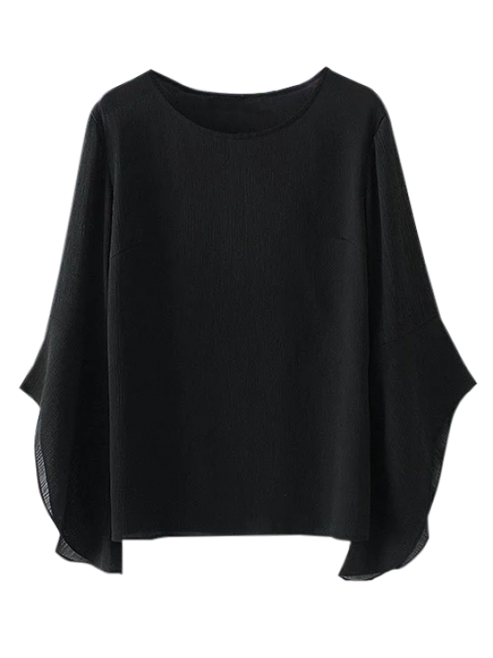 best Asymmetric Flare Sleeve Chiffon Blouse - BLACK S