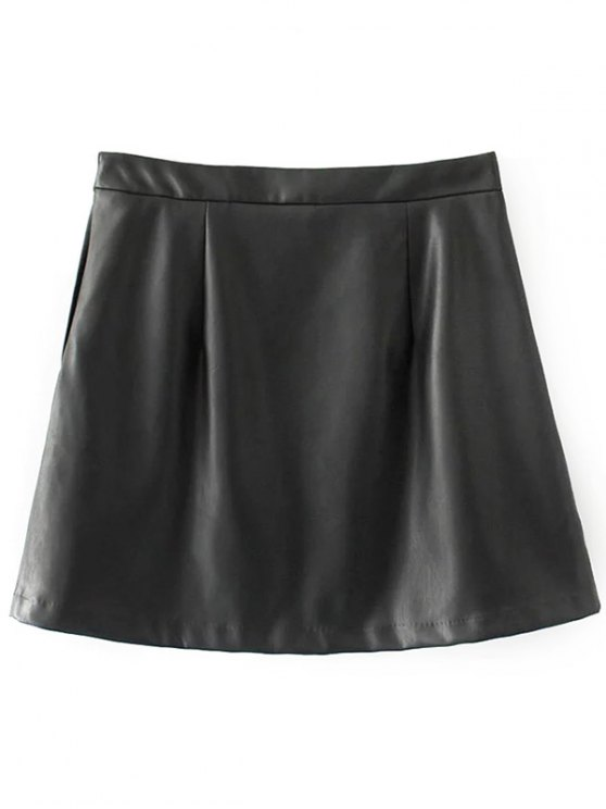 Faux Leather Flower Embroidered Skirt - BLACK M Mobile