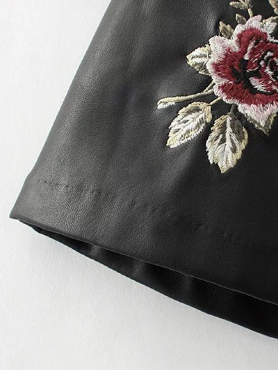 Faux Leather Flower Embroidered Skirt - BLACK S Mobile